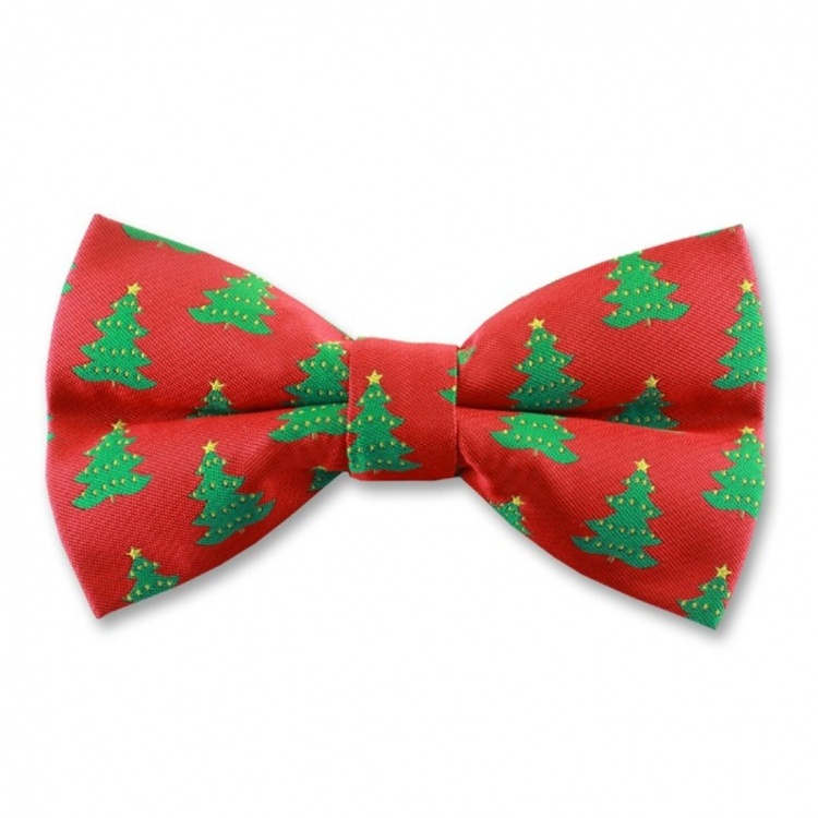 Red Ready Tied Bow Tie With Christmas Fir Trees